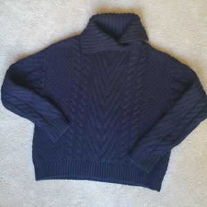 Zara Navy Cable Knit Sweater Size S